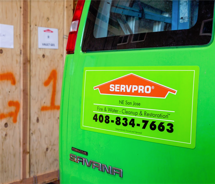 the back of a SERVPRO van